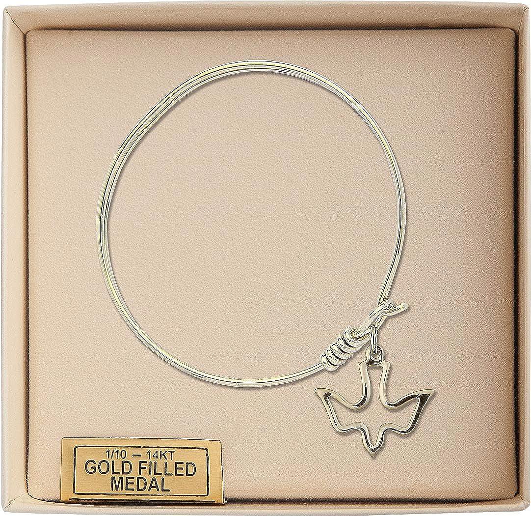 Holy Spirit Charm On A 6 1//4 Inch Round Eye Hook Bangle Bracelet