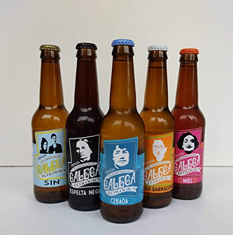 PACK DEGUSTACIÓN Cerveza artesana ecológica CELEBRIDADE GALEGA 1 de miel, 1 de espelta negra, 1 de trigo sarraceno, 1 sin alcohol y 2 de cebada, total 6 X 33CL.