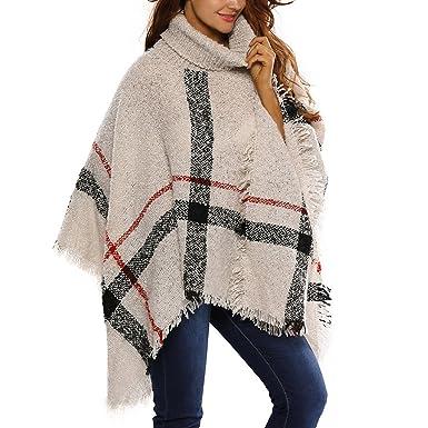 20d845a0abe JLTPH Poncho Pull Cape Laine Femme Col Roulé Mélange de Laine Tricot Tartan  Blanket Châle Chaud