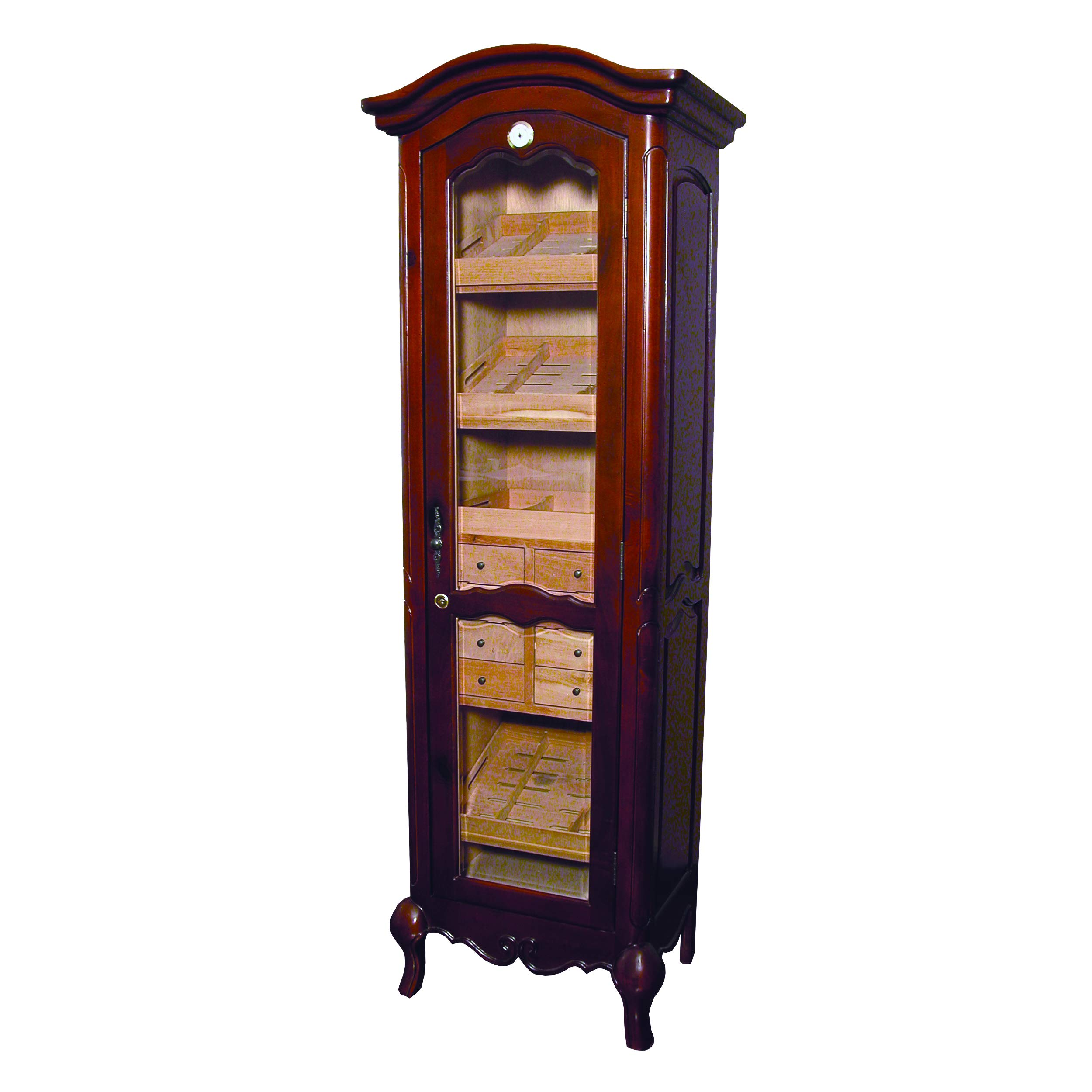 Quality Importers Trading Antique Tower Humidor, Cigar Cabinet Holds Up to 3000 Cigars, 4 Shelves, 8 Drawers, 2 Interior A/C Outlets, Distressed French Walnut Finish