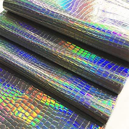 """ZAIONE 8"""" x 53"""" (21cm x 135cm) Roll Hologram Iridescent Pebble Grain  Leather Crafts Fabric Vinyl Bag Material Sheet for Wallet Sewing Patchwork"""