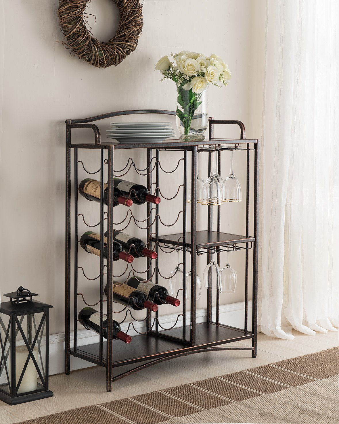 Kings Brand Furniture Metal Console Table Wine Rack Buffet Server by Kings Brand Furniture