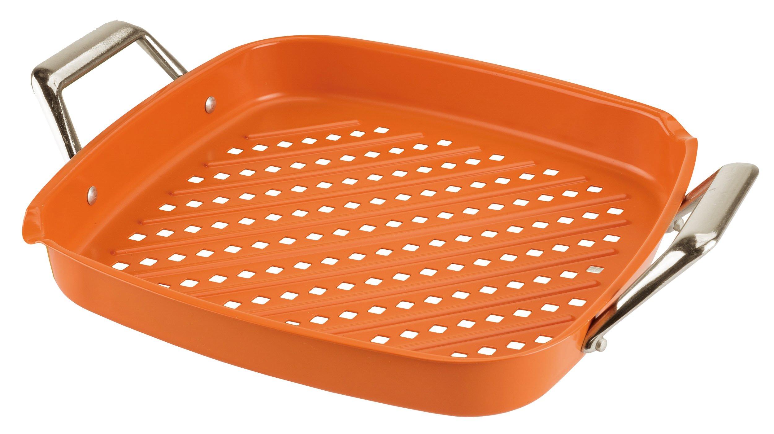 Mr. Bar-B-Q 08303CRFPX Ceramic Coated Deep Dish Searing Griddle, Orange