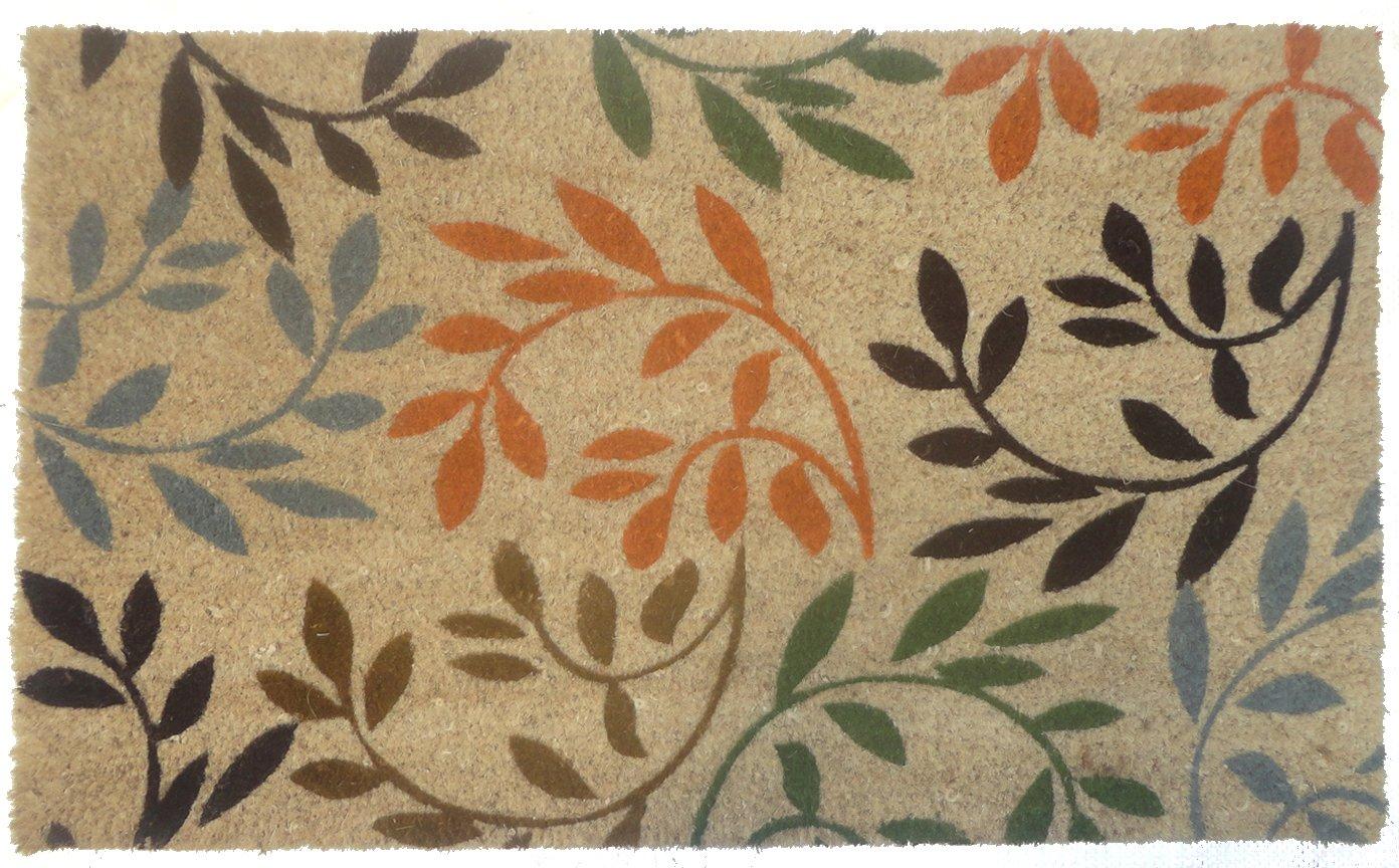 J&M Home Fashions Natural Coir Coco Fiber Non-Slip Outdoor/Indoor Doormat, 18x30'', Heavy Duty Entry Way Shoes Scraper Patio Rug Dirt Debris Mud Trapper Waterproof-Leaves on Branches