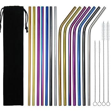 Keriber - Pajitas reutilizables de acero inoxidable (14 piezas, dobladas y rectas, con 4 cepillos de limpieza y bolsa de almacenamiento, 7 colores)