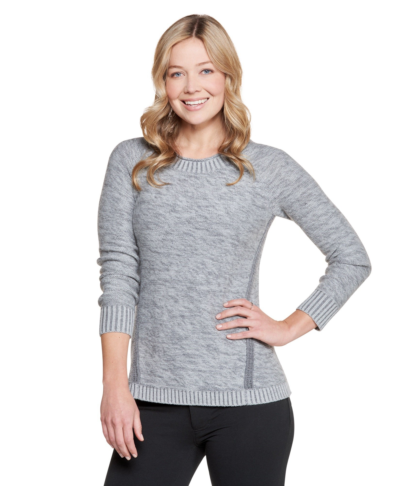 Toad&Co Women's Marlevelous Panel Crew, Charcoal Heather, X-Small