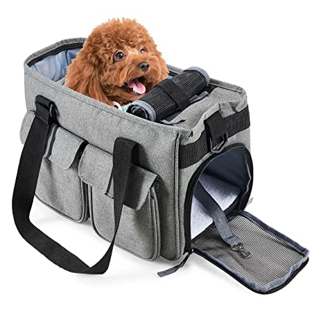 Petcomer Bolsa para Mascotas Perro Gato para Viaje Transporte Coche Cómodo Seguro Talla Mediana Pequeña Portador