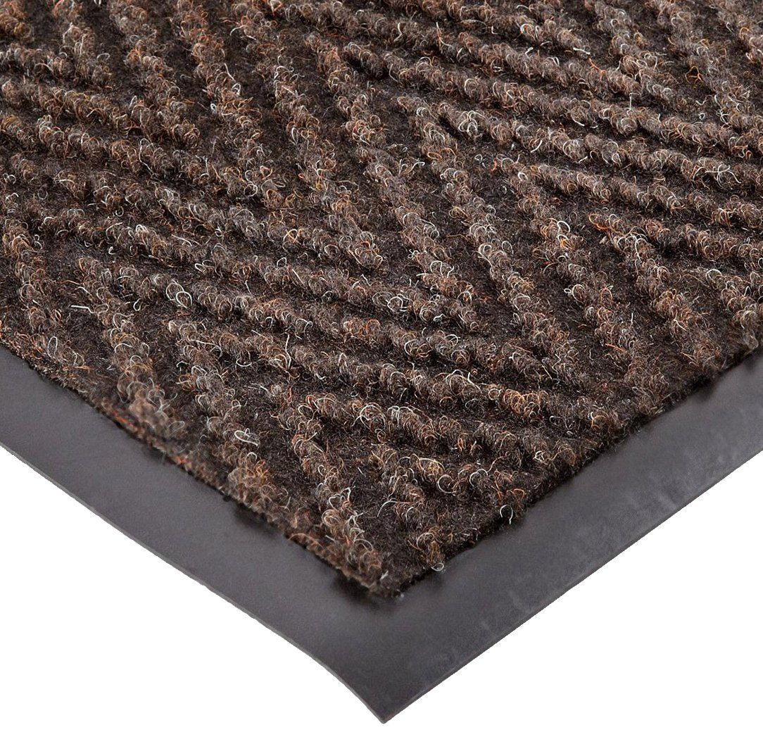 NoTrax 105 Chevron Entrance Mat, for Lobbies and Indoor Entranceways, 3' Width x 5' Length x 5/16'' Thickness, Brown