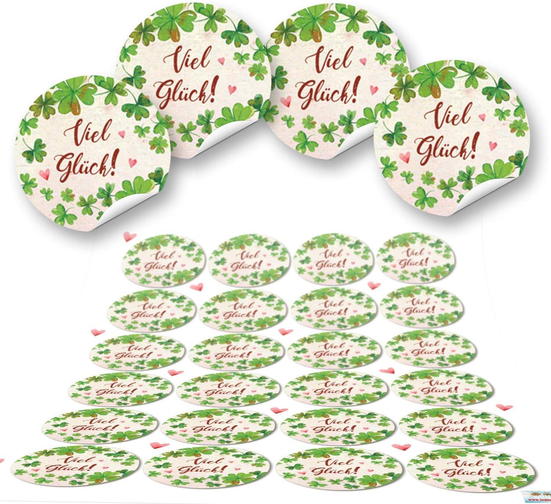 96 Kleeblatt VIEL GL/ÜCK rot gr/ün natur runde 4 cm Aufkleber selbstklebende Etiketten Geschenkaufkleber Verpackung Hochzeit Weihnachten Silvester