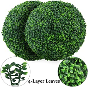 Sunnyglade 2 PCS 19.7 inch 4 Layers Artificial Plant Topiary Ball Faux Boxwood Decorative Balls for Backyard, Balcony,Garden, Wedding and Home Décor