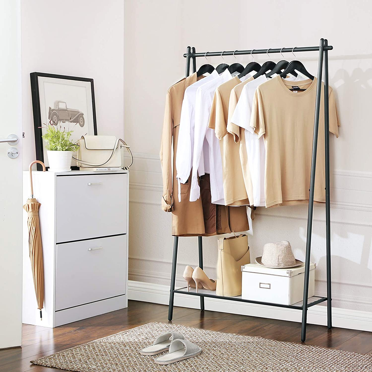 SONGMICS Clothes Garment Rack with Iron Structure, Clothing Rack with Hanging Rail, Bottom Shelf, Simple Look, for Bedroom Entrance Attic Basement, ...