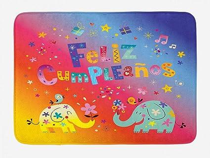 Amazon.com : YVSXO Spanish Bath Mat, Feliz Cumpleanos Happy ...