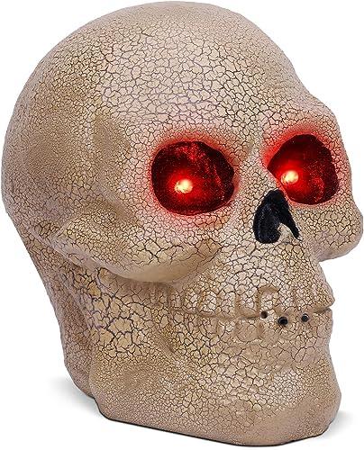 OUSFOT Halloween Skull Decor Head Skeleton Motion Sensor Sound Activated Halloween Decoration Outdoor Indoor for Aquarium Party Home Kitchen Bedroom Garden Red