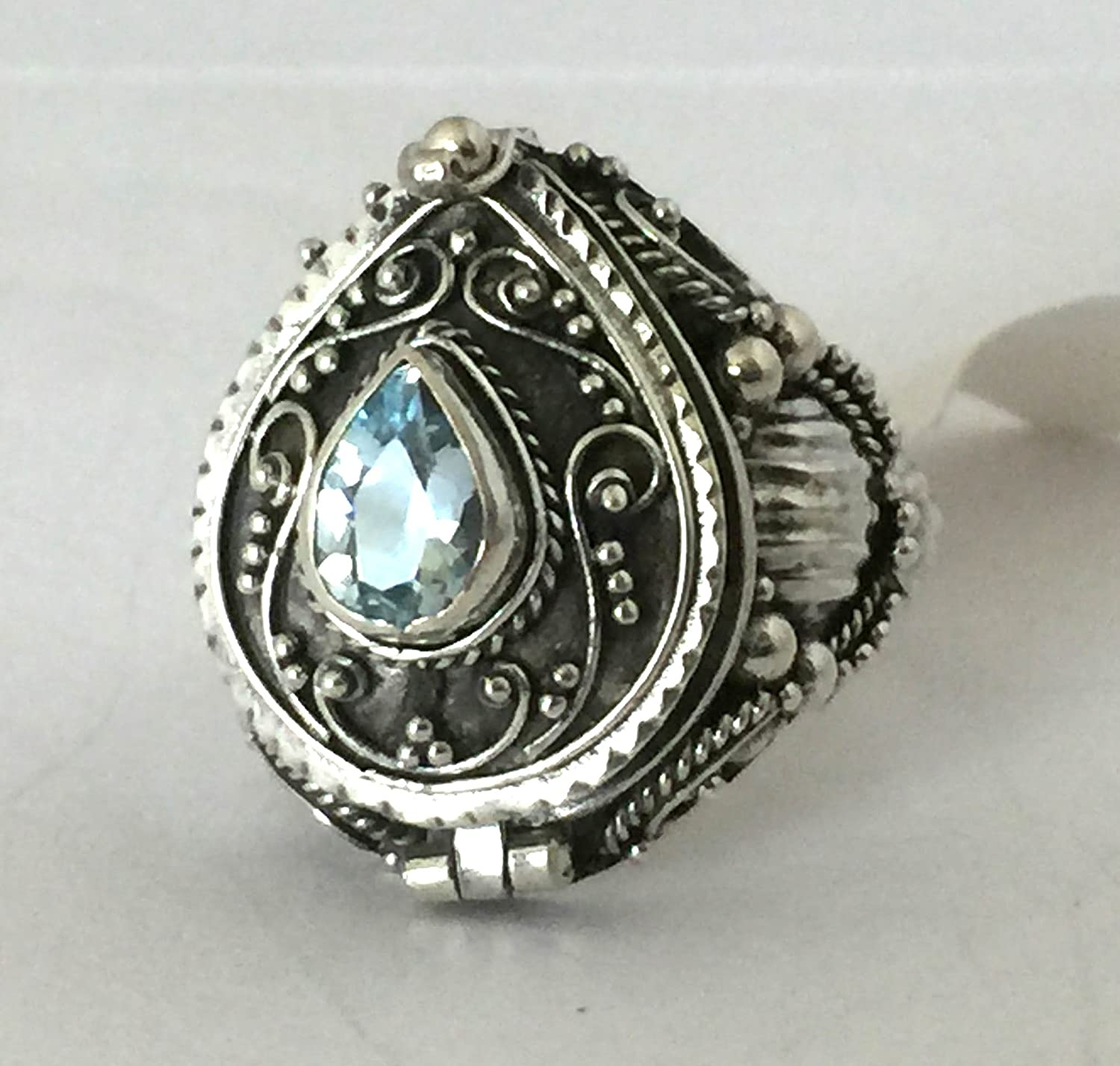 Sky Blue Topaz Tear drop Poison Ring Locket Sterling Silver Secret Compartment