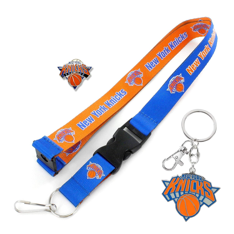 aminco NBA New York Knicks Team Reversable Lanyard Logo Lapel Pin and Metal Keychain Gift Bundle