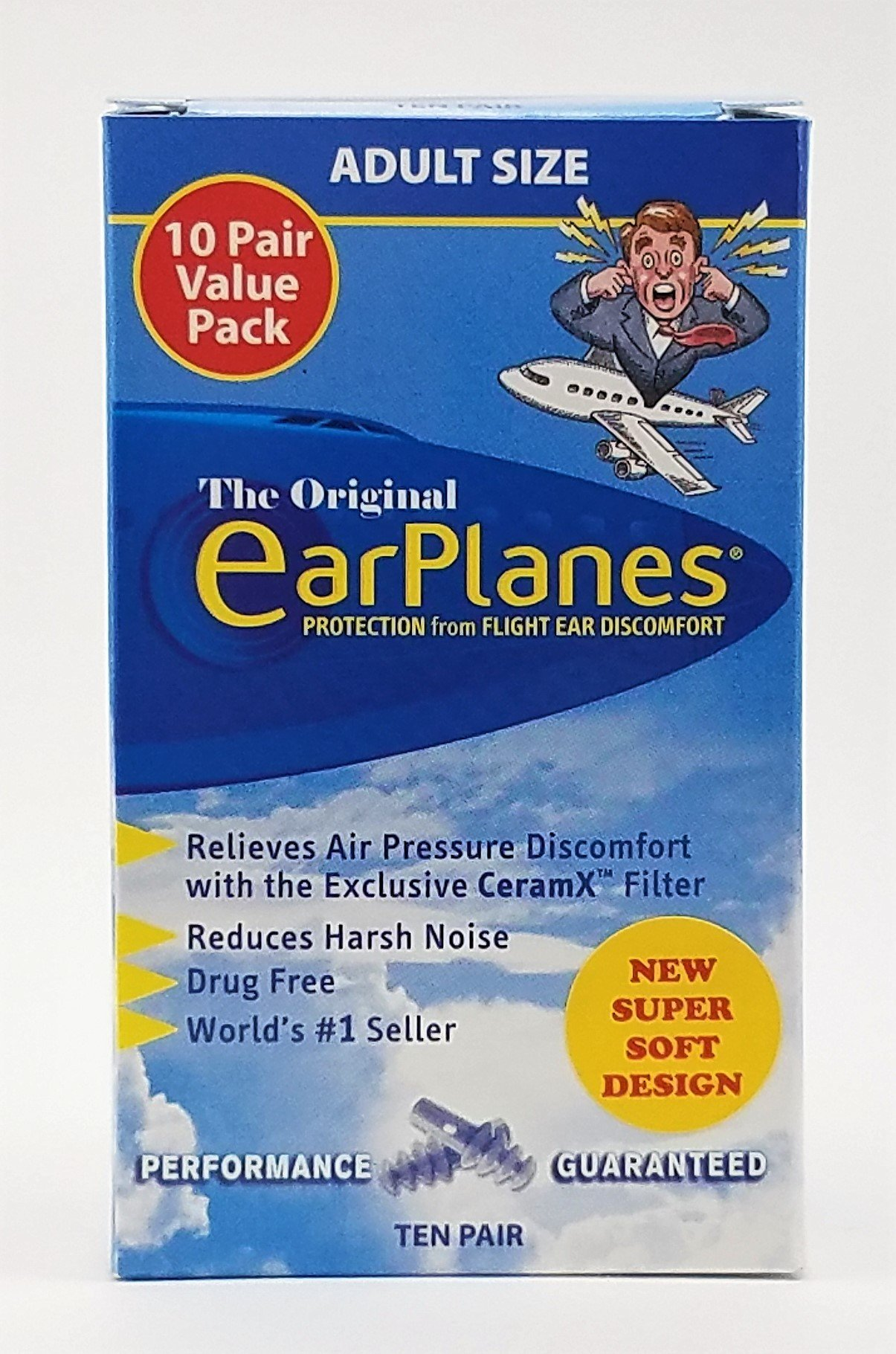 New Super Soft Adult EarPlanes® Ear Plugs Airplane Travel Ear Protection 10 Pair