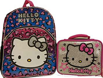 31b6b8ebee Amazon.com   Sanrio Hello Kitty Large Backpack School Bag and Lunchbox Lunch  tote Bag 2 Pieces Set   Baby