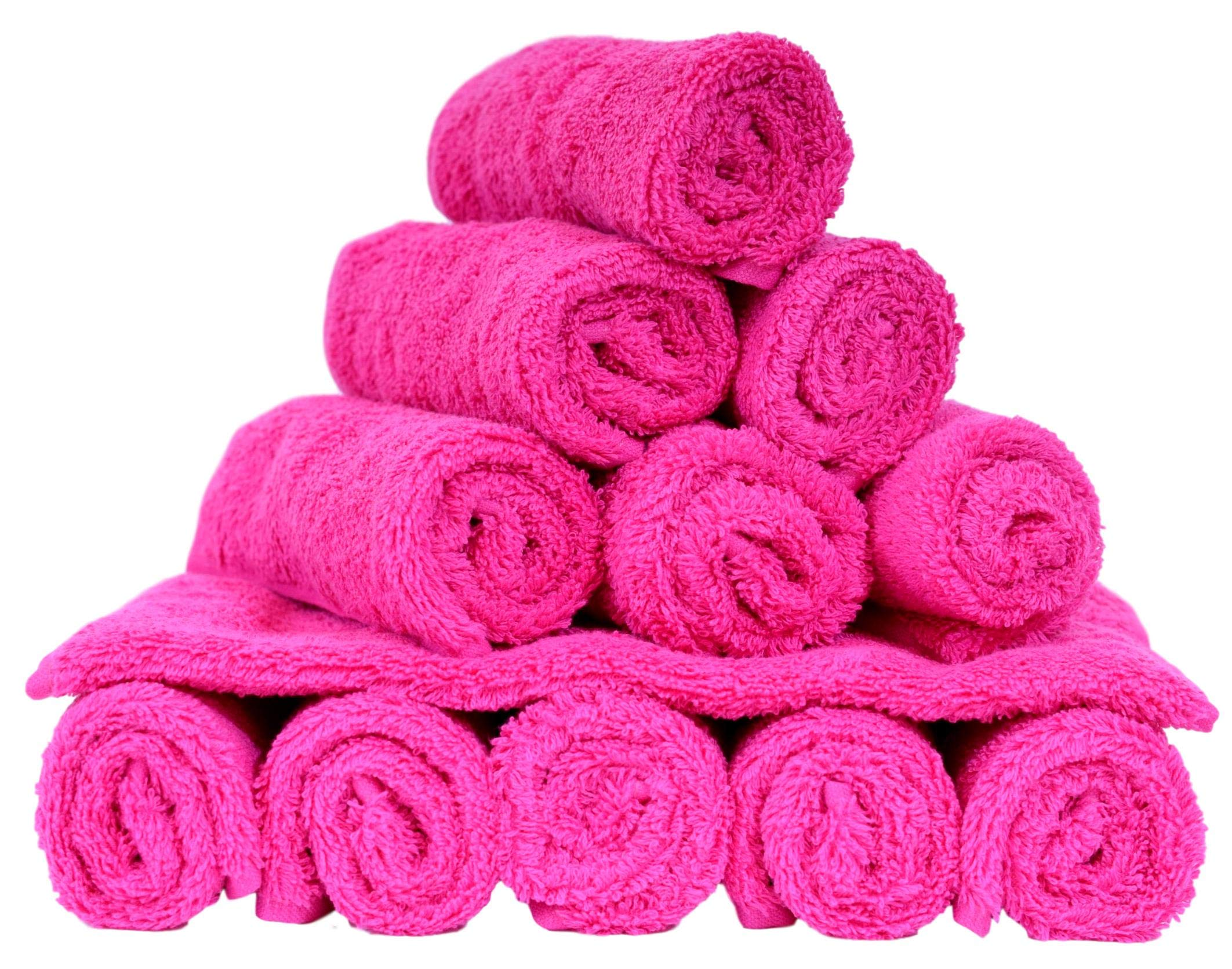 100% Turkish Soft Cotton Washcloth, Made in Turkey (Set of 12, Hot Pink) by Turquoise Textile