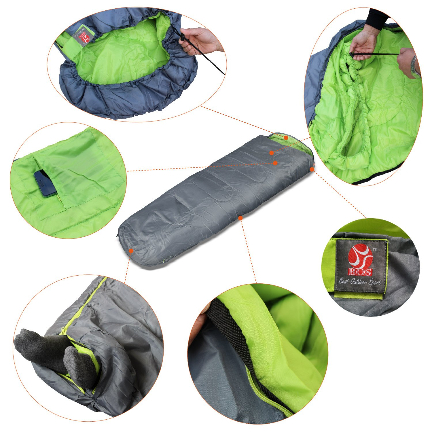BOS Portable Mummy Sleeping Bag- Ultralight Waterproof Camping Sleeping Bag with Compression Sack for 4 Season Traveling and Outdoor Activities- Large Sleeping Bag for Adults up 7 2