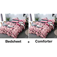 Kuber Industries Floral Design Glace Cotton AC Comforter King Size Bed Comforter, Double Bed Sheet, 2 Pillow Cover (Pink, 90x100 Inches)-Set of 4 Pieces-CTKTC33190