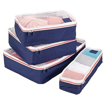 mDesign Juego de 4 cajas de almacenamiento con cremallera – Bolsas de tela o bolsas de