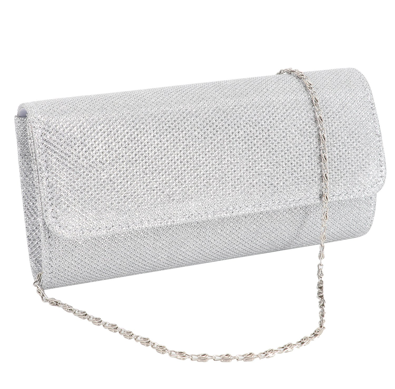 Gabrine Womens Evening Shoulder Bag Handbag Clutch Purse Shiny Mesh Fabric Material for Wedding Party(Silver)