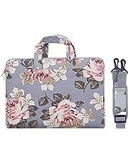MOSISO Laptop Shoulder Messenger Bag Case Sleeve for 14 Inch 15 Inch Laptop Case Laptop Briefcase 15.6 Inch, Canvas Rose Pattern,Gray