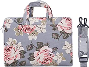 MOSISO Laptop Shoulder Bag Compatible with 13-13.3 inch MacBook Pro, MacBook Air, Notebook Computer, Canvas Rose Carrying Briefcase Handbag Sleeve Case Cover, Gray