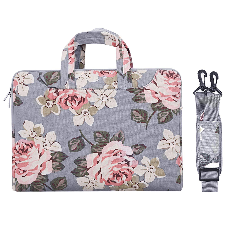 MOSISO Laptop Shoulder Bag Compatible 13-13.3 Inch MacBook Pro, MacBook Air, Surface Book, Notebook Computer, Canvas Rose Pattern Laptop Shoulder Messenger Handbag Case Cover Sleeve, Gray
