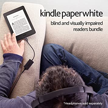 Kindle Paperwhite Blind and Visually Impaired Readers Bundle - Includes  Kindle Paperwhite with Wi-Fi and Special Offers, Kindle Audio Adapter, and