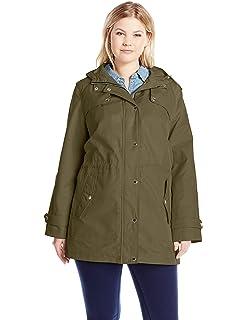 6851ca65e10 Tommy Hilfiger Women s Plus-Size Chevron Down Coat with Fur Trim ...