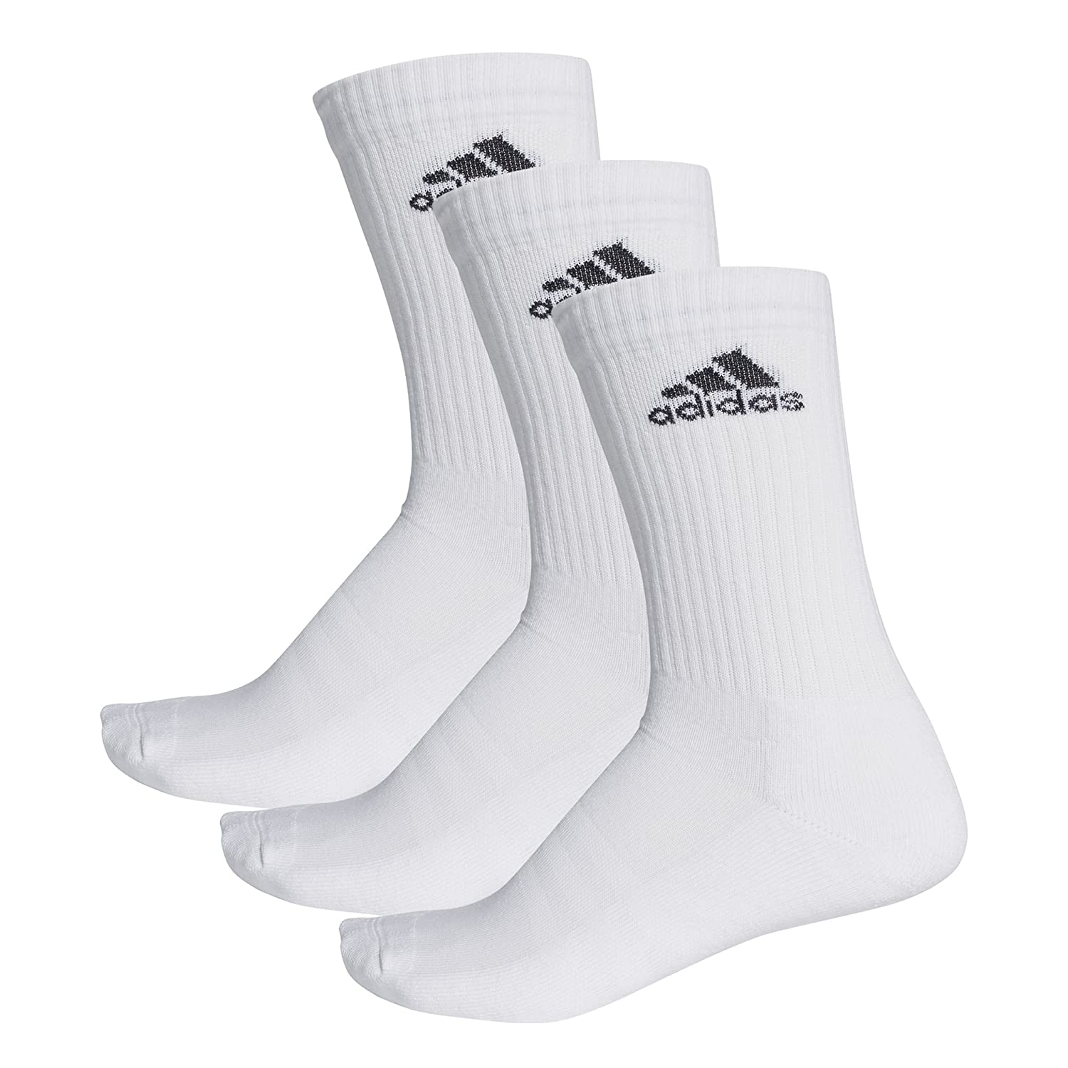 adidas Unisex 3-Stripes Performance Crew Socks, White/White/Black, 12-14 AA2297