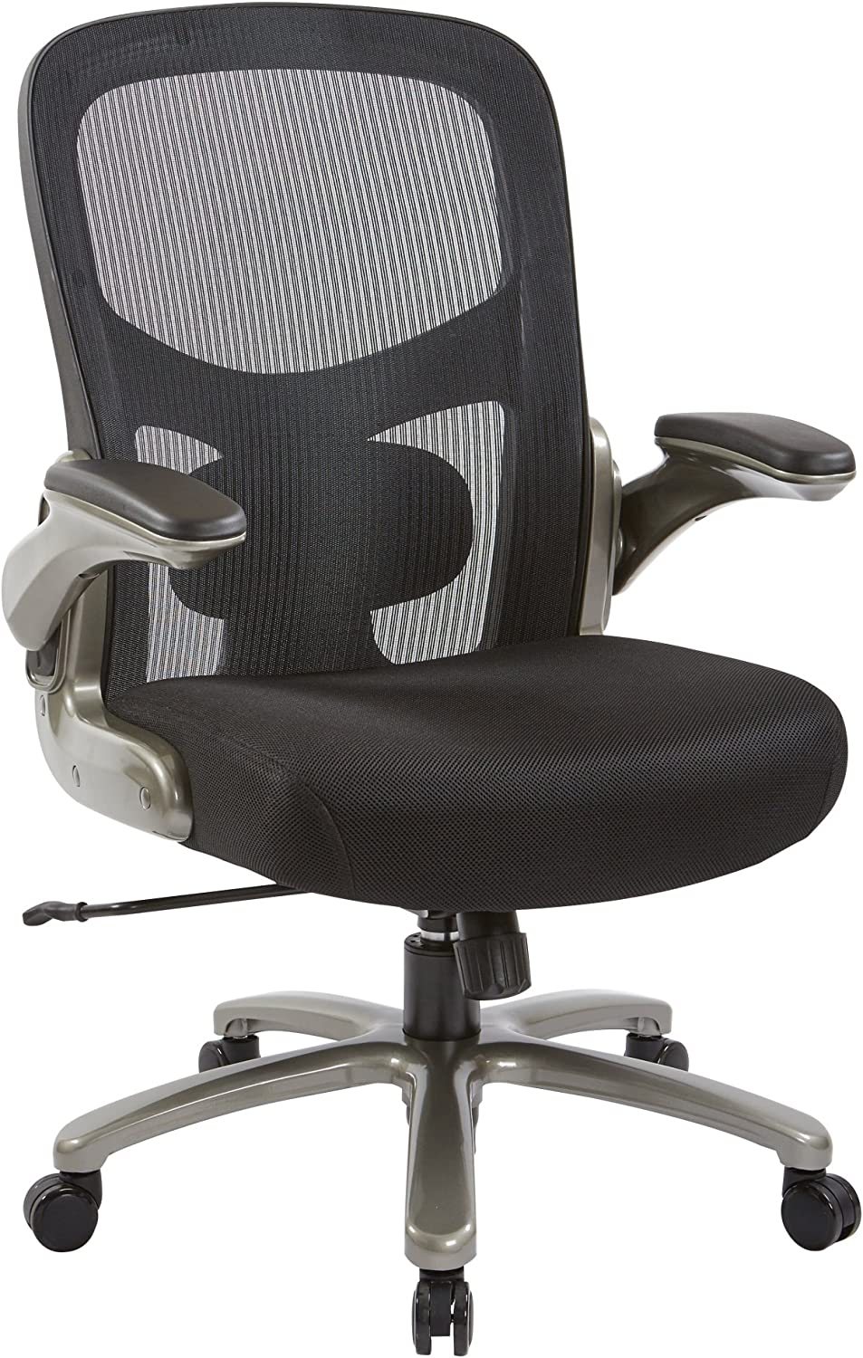Office Star Big and Tall Mesh Back and Padded Mesh Seat Executive Chair with Adjustable Lumbar Support, Adjustable Flip Arms, and Titanium Accents, Black