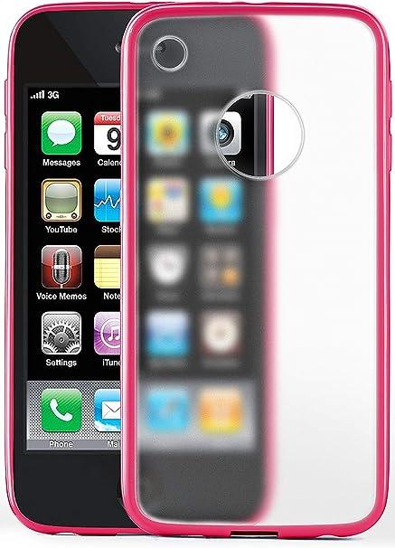 MoEx® Coque Mate Transparente Compatible iPhone 3GS / iPhone 3G   Bords surélevés Contrastants, Rose Clair