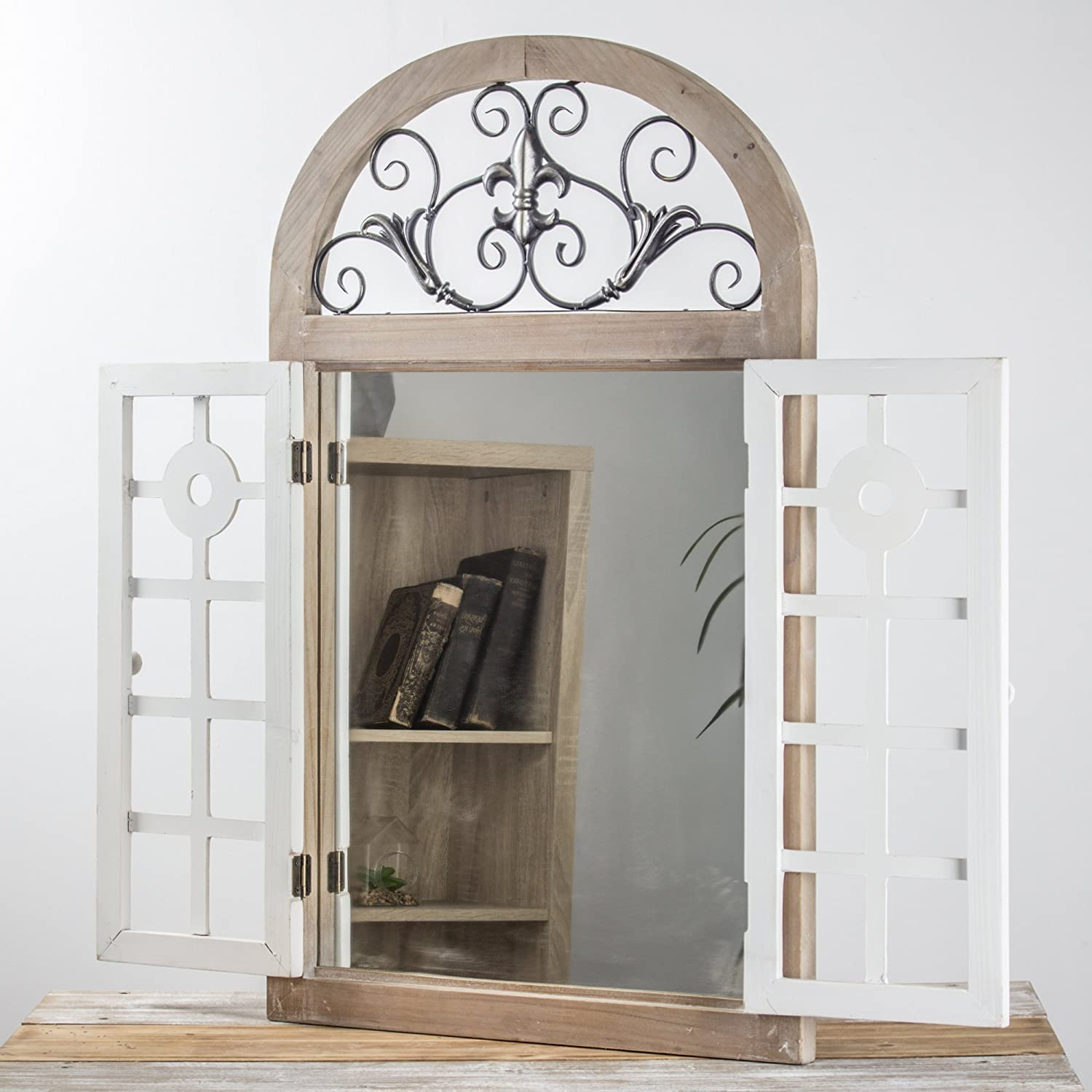 American Art Decor Rustic Farmhouse Cathedral Arch Window Shutter Wall Vanity Accent Mirror 34.25 H x 21.25 L x 1.75 D