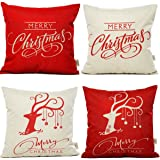 "HOSL SD12 Merry Christmas Series Throw Pillow Case Decorative Cushion Cover Pillowcase Square 18"" - Set of 4"