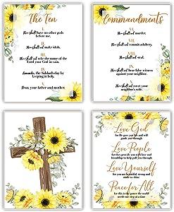 Ten Commandments Wall Art Decor - Fruit of The Spirit Wall Art - Full Ten Commandments Decor - Christian Gift - Sunflower Decor - Family Wall Decor - UNFRAMED 8x10