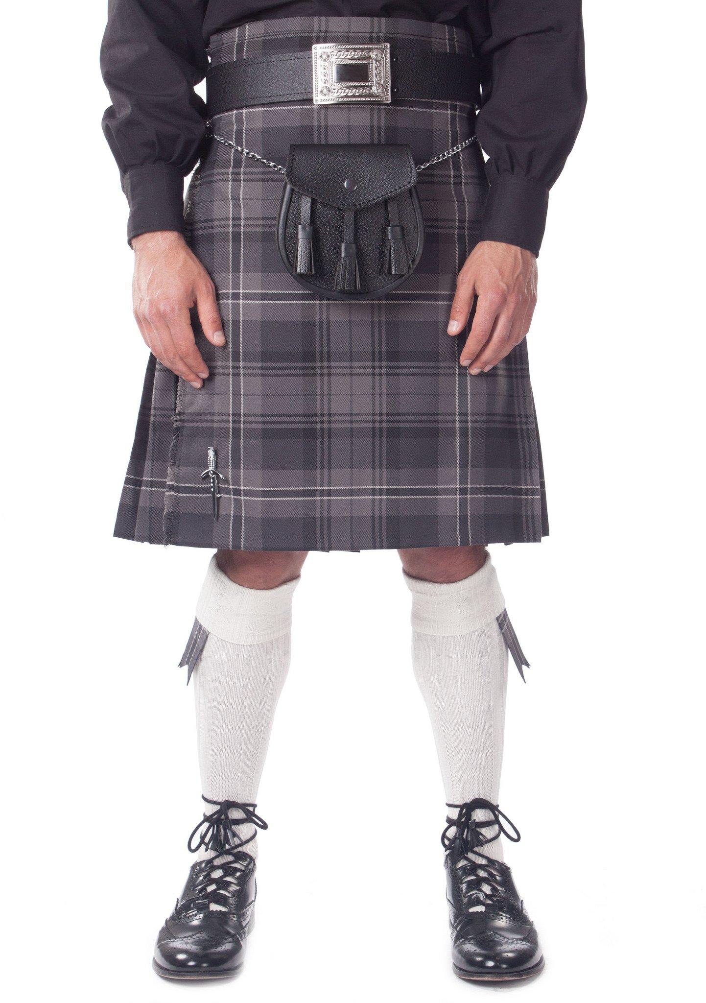Kilt Society Mens 7 Piece Casual Kilt Outfit- Hamilton Tartan with White Hose 46'' to 50''