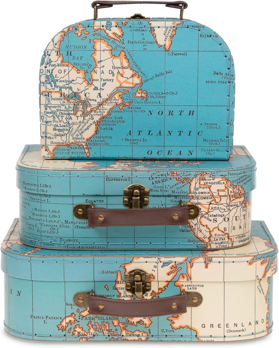 Jewelkeeper Paperboard Suitcases, Set of 3 – Nesting Storage Gift Boxes for Birthday Wedding Easter Nursery Office Decoration Displays Toys Photos – Vintage World Map Design