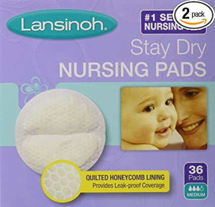 Lansinoh Stay Dry Nursing Pads Medium 36 Each Pack of 5