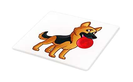 Amazon Com Lunarable German Shepherd Cutting Board Friendly Dog Of