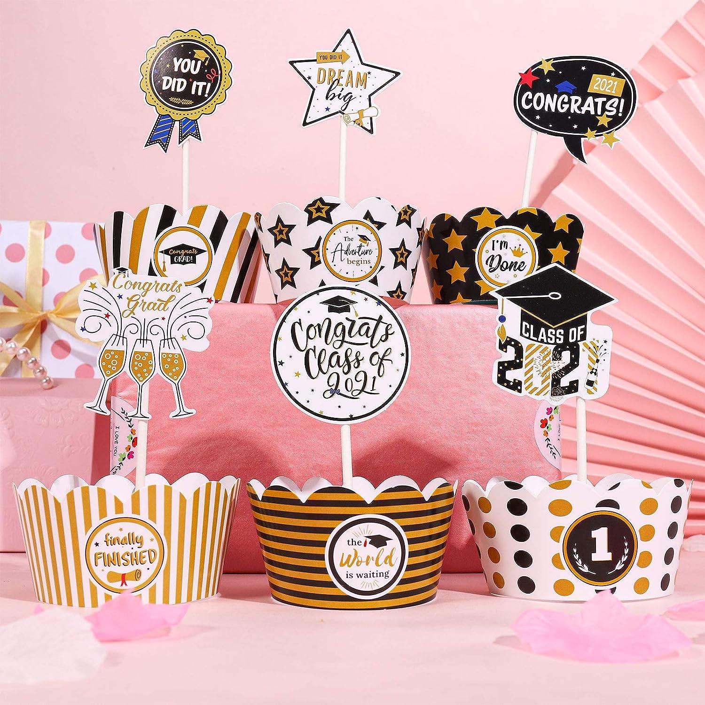 Congrats of Class 2021 Graduation Party Supplies Graduation Party Decorations 2021 fidget pencil 48 Pack Graduation Cupcake Toppers 2021 with Cupcake Wrapper Set