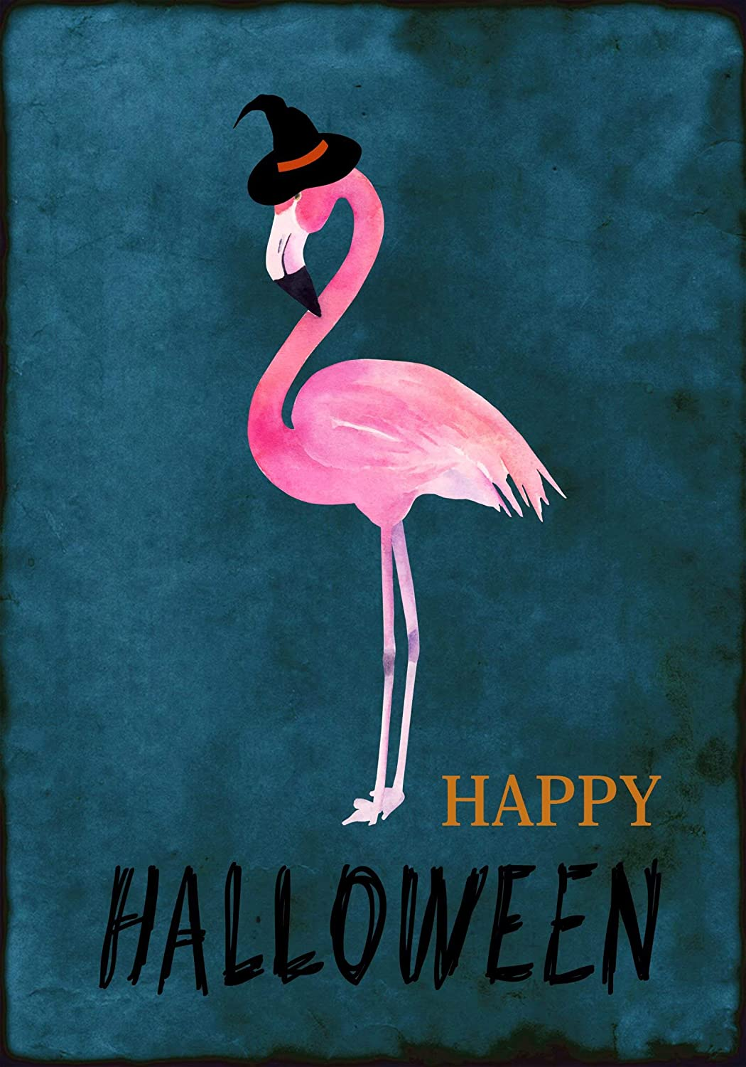 Halloween Flamingo Witch Hat Garden Flag 12 x 18 Double Sided, Scary Night Pink Bird Yard House Flags Indoor Outdoor Banner for Halloween Day Party Home Decor