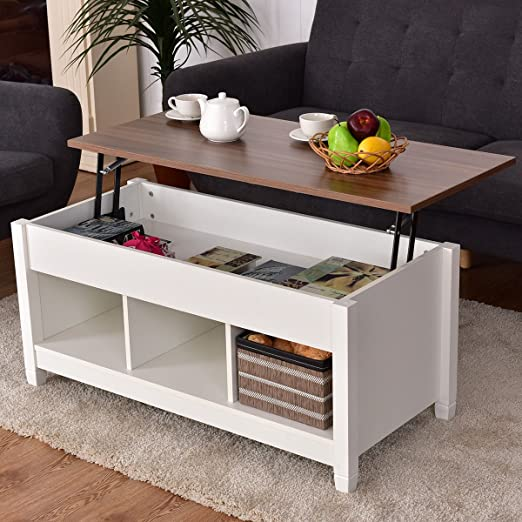 Casart Coffee Table Lift Top Wood Home Living Room Modern Lift Top Storage Coffee Table Whidden Compartment Lift Tabletop Furniture