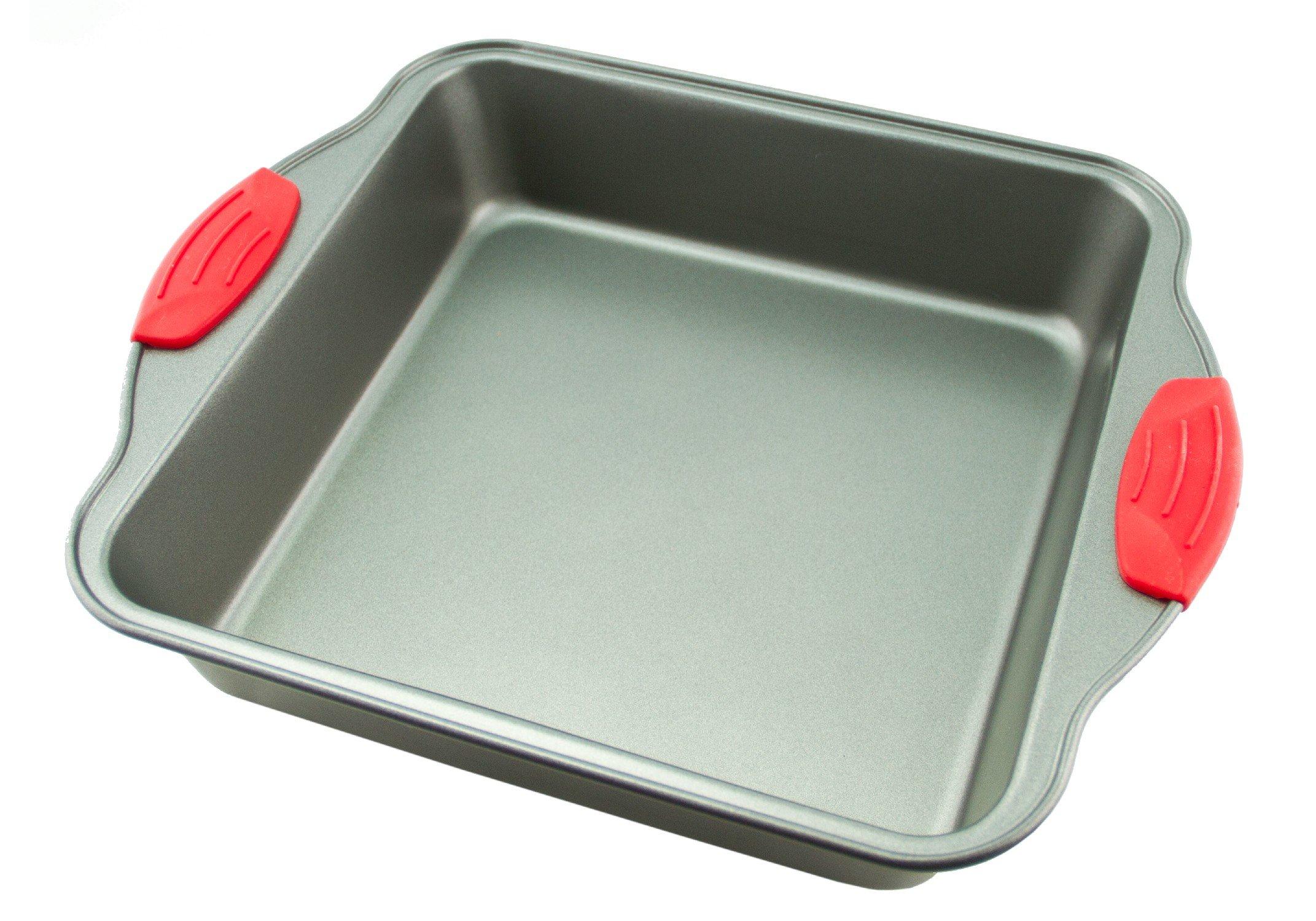 Cake Pan   Non-Stick Steel 8-Inch Square Baking Pan by Boxiki Kitchen   Durable, Convenient, Premium Quality No-Stick Baking Mold Cookware   Brownie Pan 8'' x 8'' x 2'' by Boxiki Kitchen
