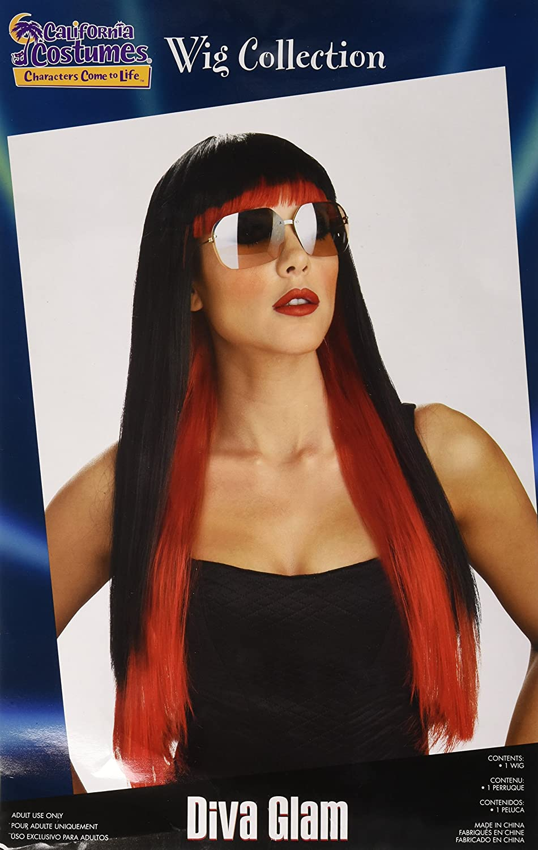 Amazon.com: California Costumes Womens Diva Glam Wig, Black/Blue, One Size: Clothing