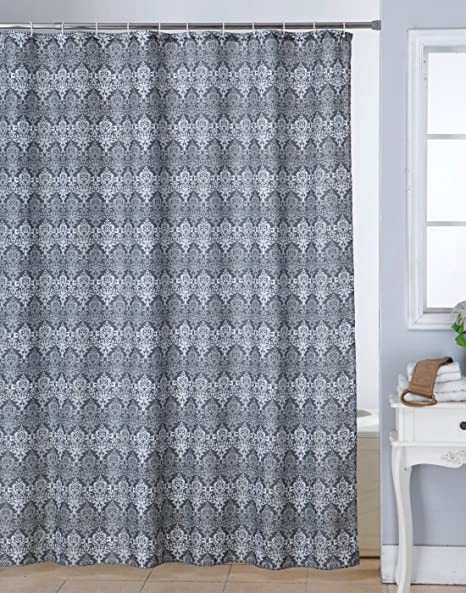 Bianca Waterproof Printed Polyester Blend Shower Curtain With12 Piece Plastic Hooks 72x80 Inches Grey Amazonin Home Kitchen