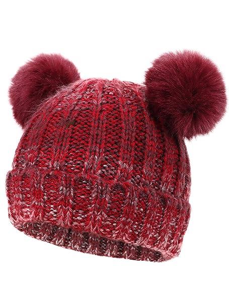 503810ed0c2 Lullaby Kids Kids Warm Thick Stretchy Soft Winter Double Pom Pom Beanie Hat