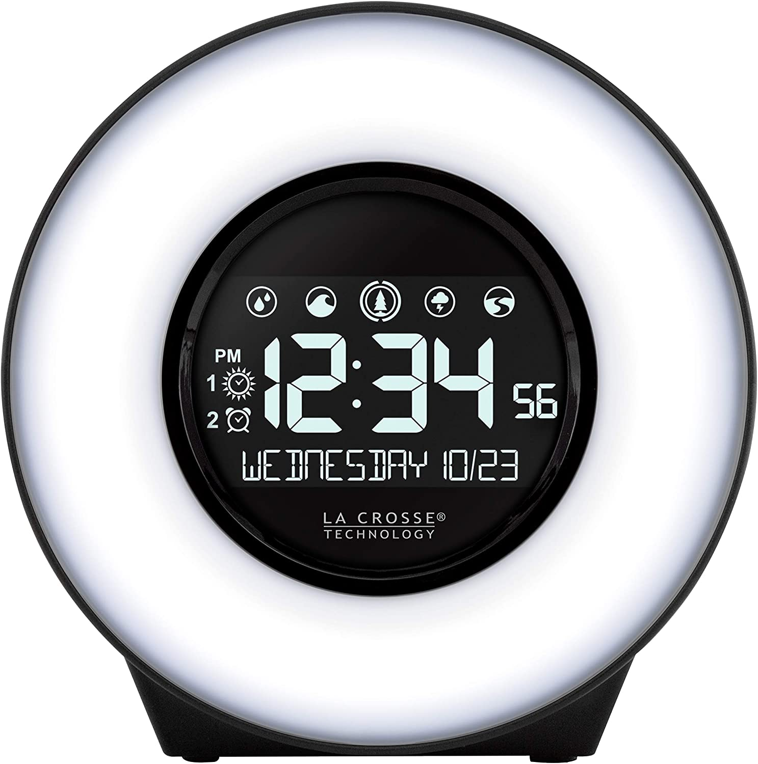 La Crosse Technology C83117-INT Color Mood Light Desk Clock with 5 Soothing Nature Sounds and USB Port, Black
