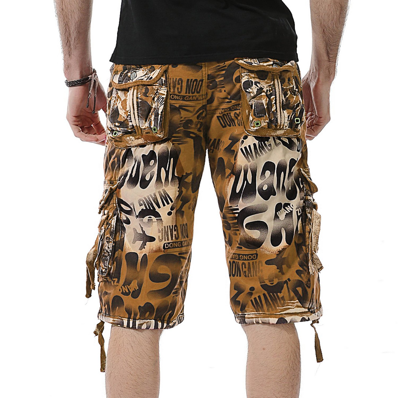 AYG Cargo Pantal/ón Corto Bermudas Hombre Camuflaje Pantalones Cortos de Monta/ña Rojo Shorts